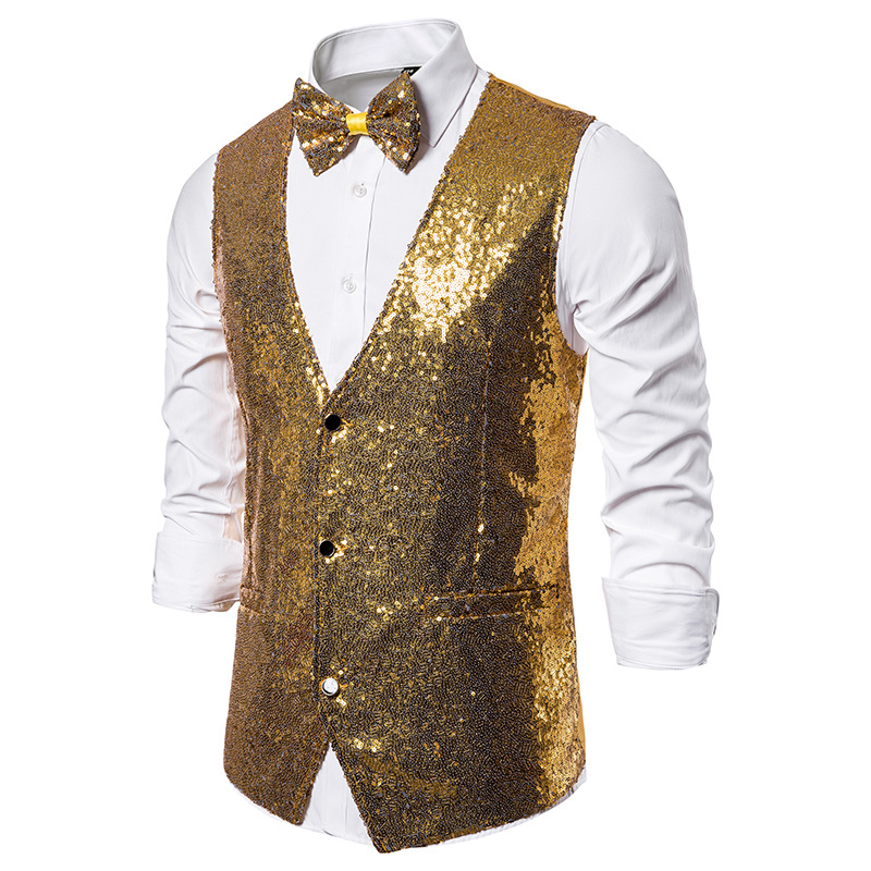 Shiny Gold Sequins Vest Men Slim Fit DJ Nightclub Vest Waistcoat Men Party Stage Singer Gilet Homme Costume Wedding Tuxedo Vests