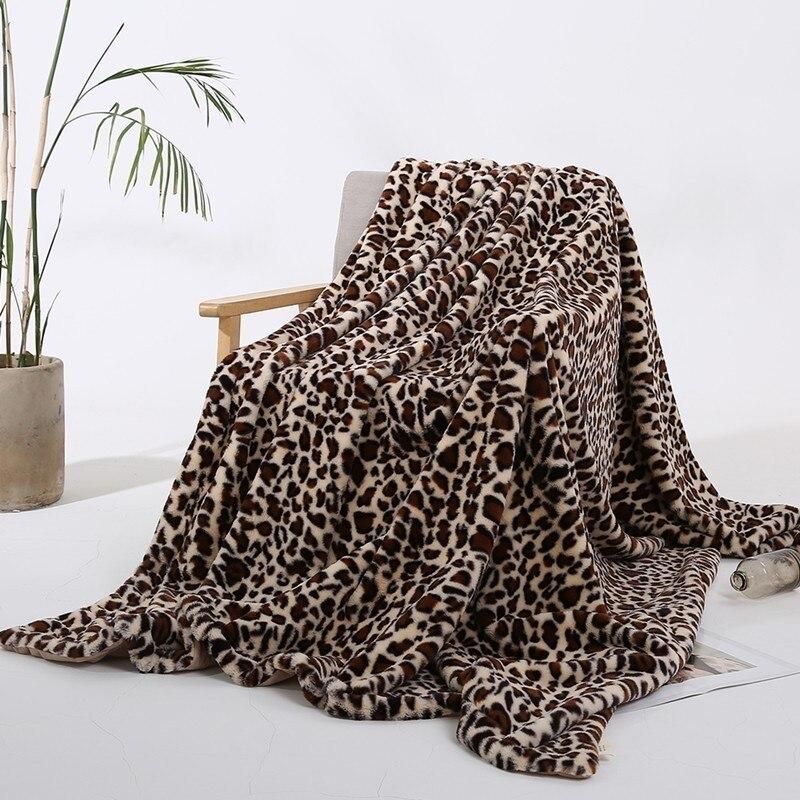 Mode léopard série cristal courtes couvertures en peluche pour lits épais doux chaud fourrure de lapin voyage canapé jeter couverture couvre-lit