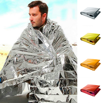 Hypothermia rescue first aid kit camp keep foil mylar lifesave warm heat bushcraft outdoor thermal dry emergent blanket survive image