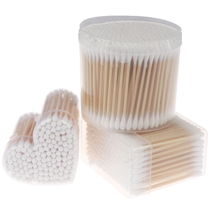 Double Head Cotton Swab Women Makeup Cotton Buds Tip For Medical Wood Sticks Nose Ears Cleaning Health Care Tools 150/200/300pcs