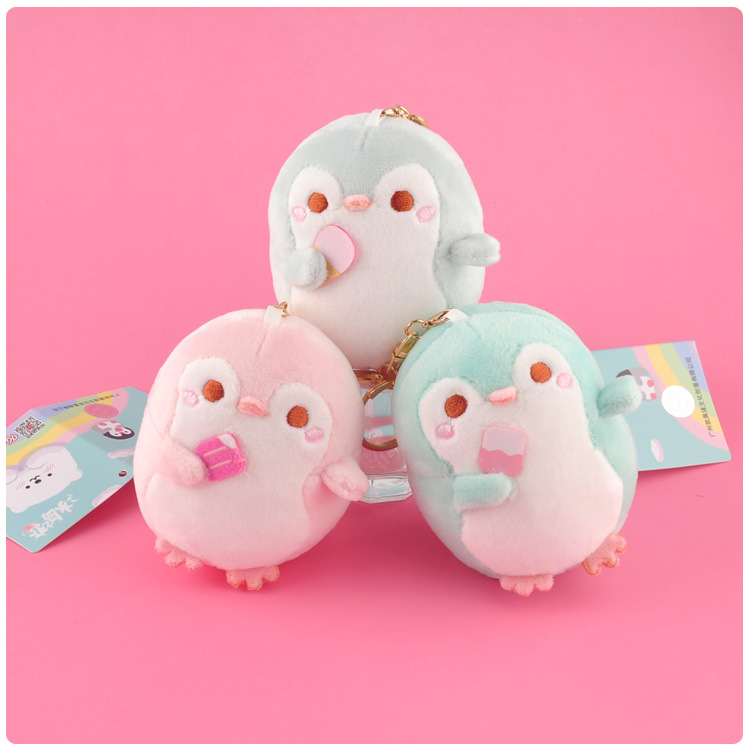 3 Color Cute Penguin Polar Bear Plush Pendant Doll Soft Toys Keychain Backpack Decoration Key Ring Holder Creative Ornaments 8CM