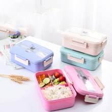 цена на Wheat straw microwave lunch box food box office school lunch box to send spoon fork sealed box built-in three grid lunch box