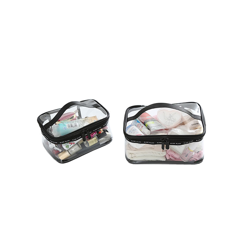 Fashion Lady Beauty Kit Transparent PVC Travel Accessories Cosmetic Case Waterproof Double Zipper Wash Bag With Handle