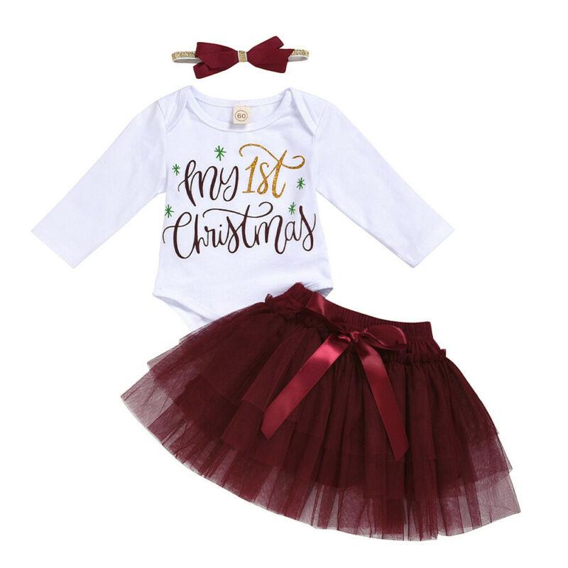 4PCs Green Baby Girls My 1st Christmas Dress Headband Leggings Shoe 0-24M