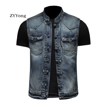 Spring Retro Stand Collar Colorblock Single Breasted Sleeveless Blue Slim Denim  Vest Coat Men Waistcoat Jean Jacket Gilet Homme one button single breasted fake pocket stand collar slimming long waistcoat for men
