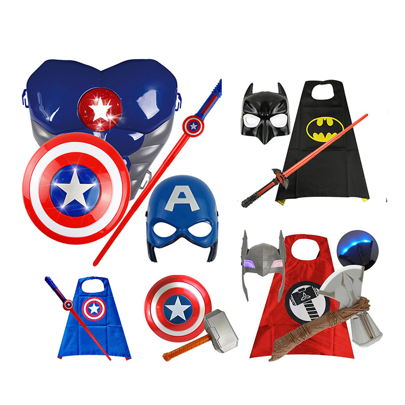 The Avengers Captain 32CM America Iron Man Shield Light-Emitting & Sound Cosplay Property Toy Metallic Shield Red/Blue
