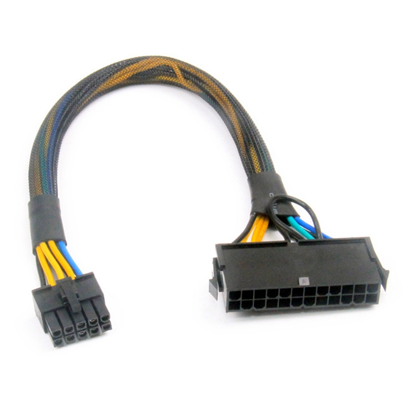 24 Pin to 10 Pin ATX PSU Main Power Adapter Braided Sleeved Cable for IBM for Lenovo PC and Servers 12-Inch(30cm)