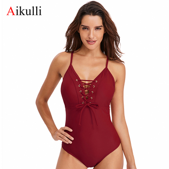 Aikulli Lace Up One Piece Swimsuit Women Bikini High Waisted Swimwear Sexy Woman Bathing Suits V Neck Female Beach Swimming Suit
