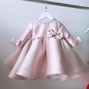 Vestido de encaje rosa para niña vestido de bautismo Vestido de manga larga para fiesta de cumpleaños de boda Vestido de bautizo para bebé recién nacido
