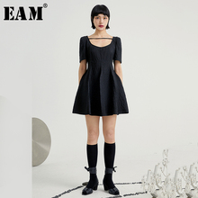 [EAM] Women Black Split Joint Three-dimensional Dress New Ro