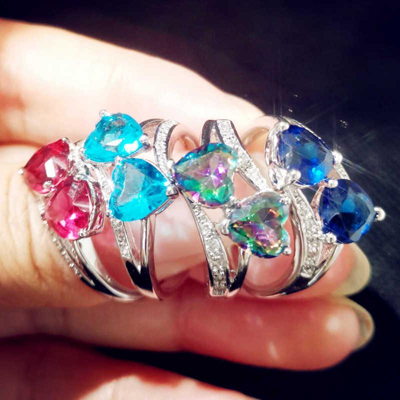 น่ารักงานแต่งงานเจ้าสาวประณีตคู่หัวใจสีฟ้าสีแดงสีขาว Zircon แหวนเงิน 925 ขนาด 6 7 8 9 10 11 12 13 เครื่องประดับสำหรับผู้หญิง