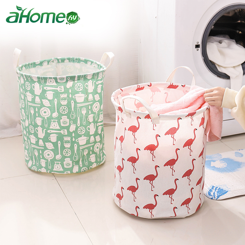 Laundry Bag Cotton Linen Laundry Basket Flamingo Dirty Cloth Organizer Laundry Bags Baskets For Toy Storage Hamper