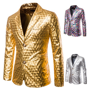 Image 2 - Shiny Gold Glitter Prom Suits&Blazer Men 2019 Brand New Slim Fit Notched Lapel Stylish Jacket Club Party Stage Clothing for Male