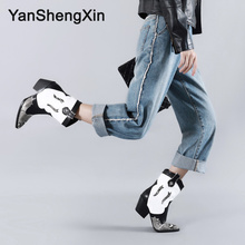 YANSHENGXIN Shoes Woman Boots Snake Point Toe Mid-Calf Boots Fashion Black White Women Shoes Autumn Winter Boots Ladies Booties new fashion autumn winter mid calf boots for women height increasing wedges shoes beige black boots white pearls beaded boots
