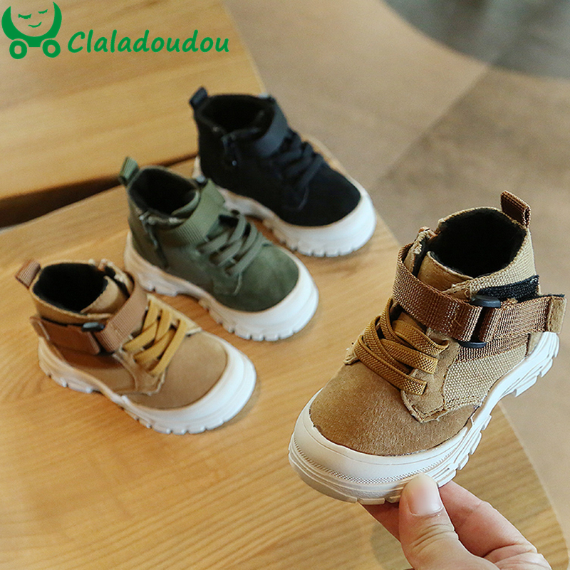Claladoudou 12-15.5CM Brand Genuine Leather Boys Girls Sneakers Boots Yellow Green Black Motorcycle Boots Shoes Warm Winter Shoe