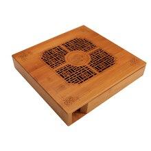 2020 Hollow-out tea cake box bamboo pu er tea box tea tray pu er tea set packaging box kung fu tea set accessories storage box