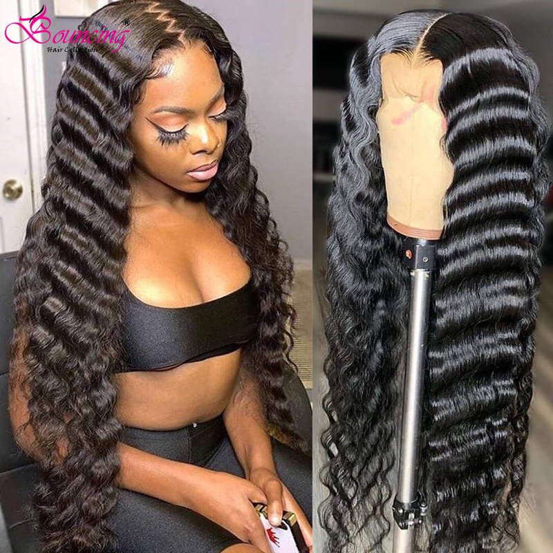 Bouncing Human Hair 26 28 30 Inch Deep Wave Wigs 180 Density Natural Black Lace Frontal Human Hair Wigs Brazilian Remy Hair Wigs