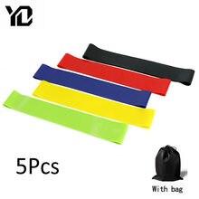 5 pçs/lote faixas de borracha da resistência da ioga da aptidão da aptidão gym workout equipamento de treinamento 0.35-1.1mm pilates bandas elásticas para sprot