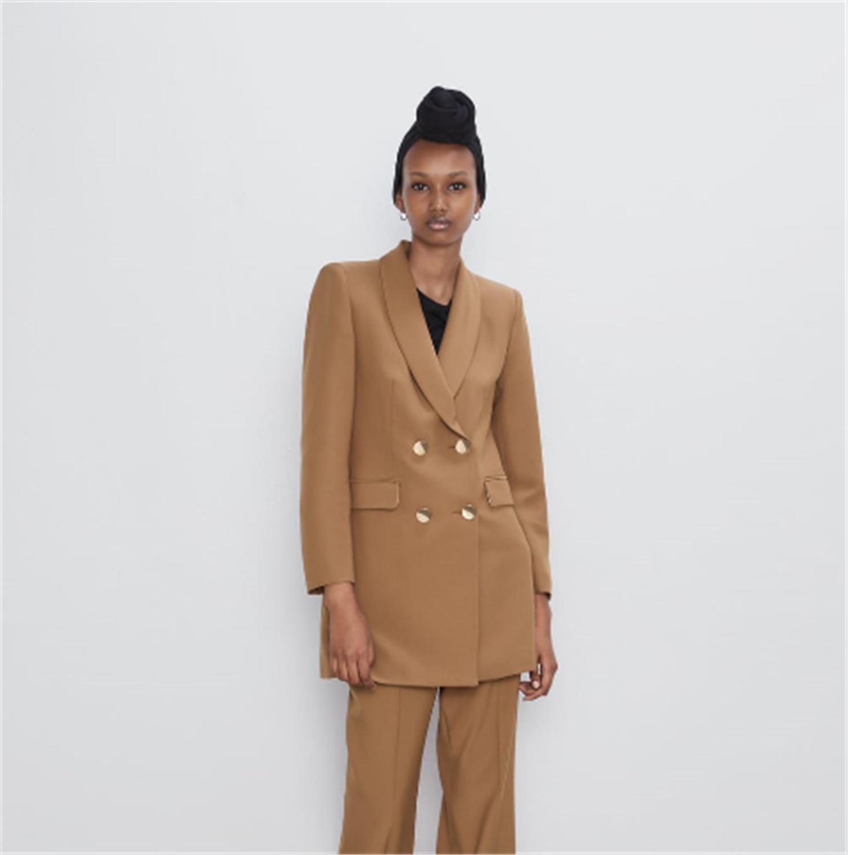 2019 za 여성 정장 패션 새로운 가을, 겨울 긴 더블 브레스트 양복 재킷 보헤미안 옷깃 정장 재킷 긴 소매 파티