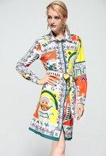 Baogarret New 2018 Fashion Designer Runway Dress Womens Long Sleeve Elegant Belted Printed Knee Length Shirt
