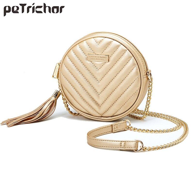 Luxury Women Tassel Shoulder Bag Soft Leather Small Round Handbag Female Circular Women's Crossbody Messenger Bags Ladies Purse