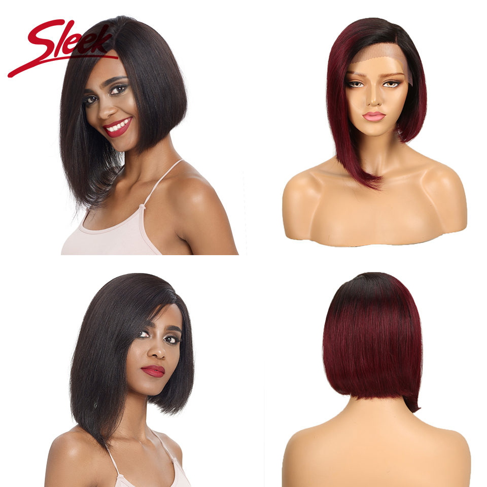 Sleek Lace Human Hair Wigs 100% Short Remy Brazilian Hair Wigs U Part Lace Wigs 150% Density Wigs 12 Inch Straight Hair Wigs