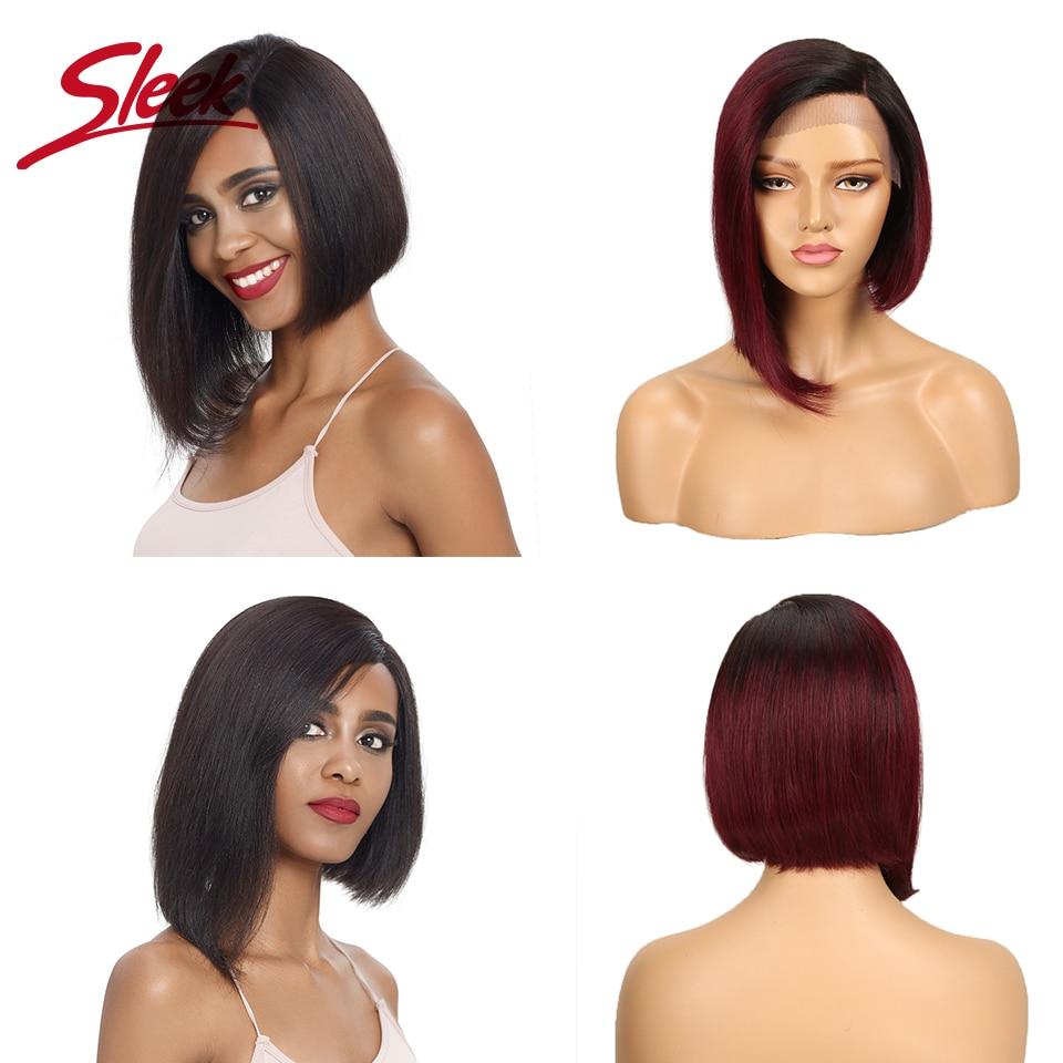 Sleek Lace Human Hair Wigs 100% Short Remy Brazilian Hair Wigs U Part Lace Wigs 150% Density Wigs 12 Inch Straight Hair Wigs