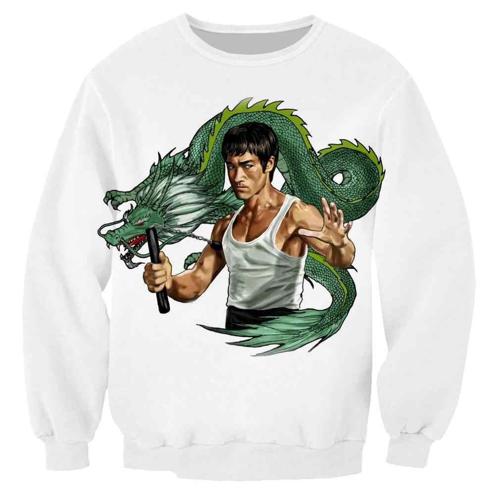 Nieuwe Off White Kongfu Bruce Lee Sweatshirts 3D Print Unisex Trui Hoodies Lange Mouwen Crewneck Streetwear Hoody Tops Sudaderas