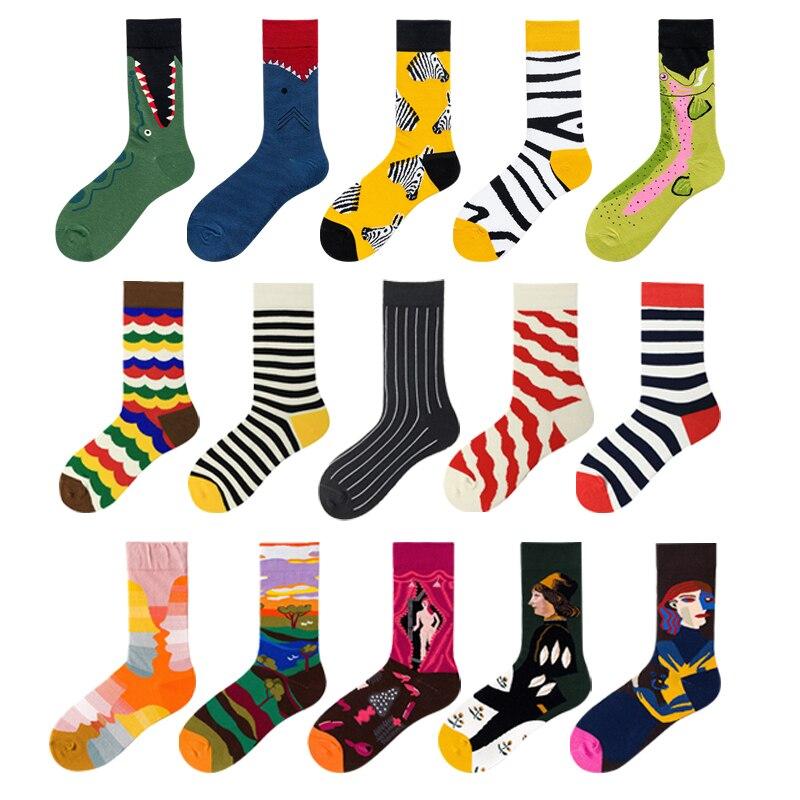 Yenilik komik erkekler grafik çorap penye pamuk yağı boyama japon Harajuku moda uzun ekip köpekbalığı çorap noel hediyesi