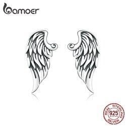 Bamoer Retro Wings Stud Oorbellen Voor Vrouwen Echt 925 Sterling Zilveren Vintage Design Oor Pin Studs Fine Diy Sieraden BSE343