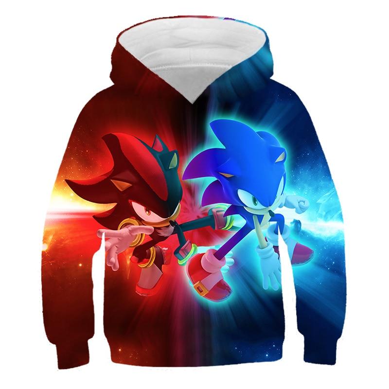 XINYOU 3D Sonic Hedgehog Summer 2021 Baby Bos Hoodies Kids Girls Cartoon Clothes Teens  Harajuku Pullover Coat Sweatshirt Tops 2