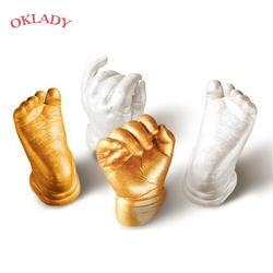 Oklady 3D Ручная форма для детской пудры гипсовая отливка комплект отпечаток руки отпечаток пальца подарок на память ребенка рост Мемориал