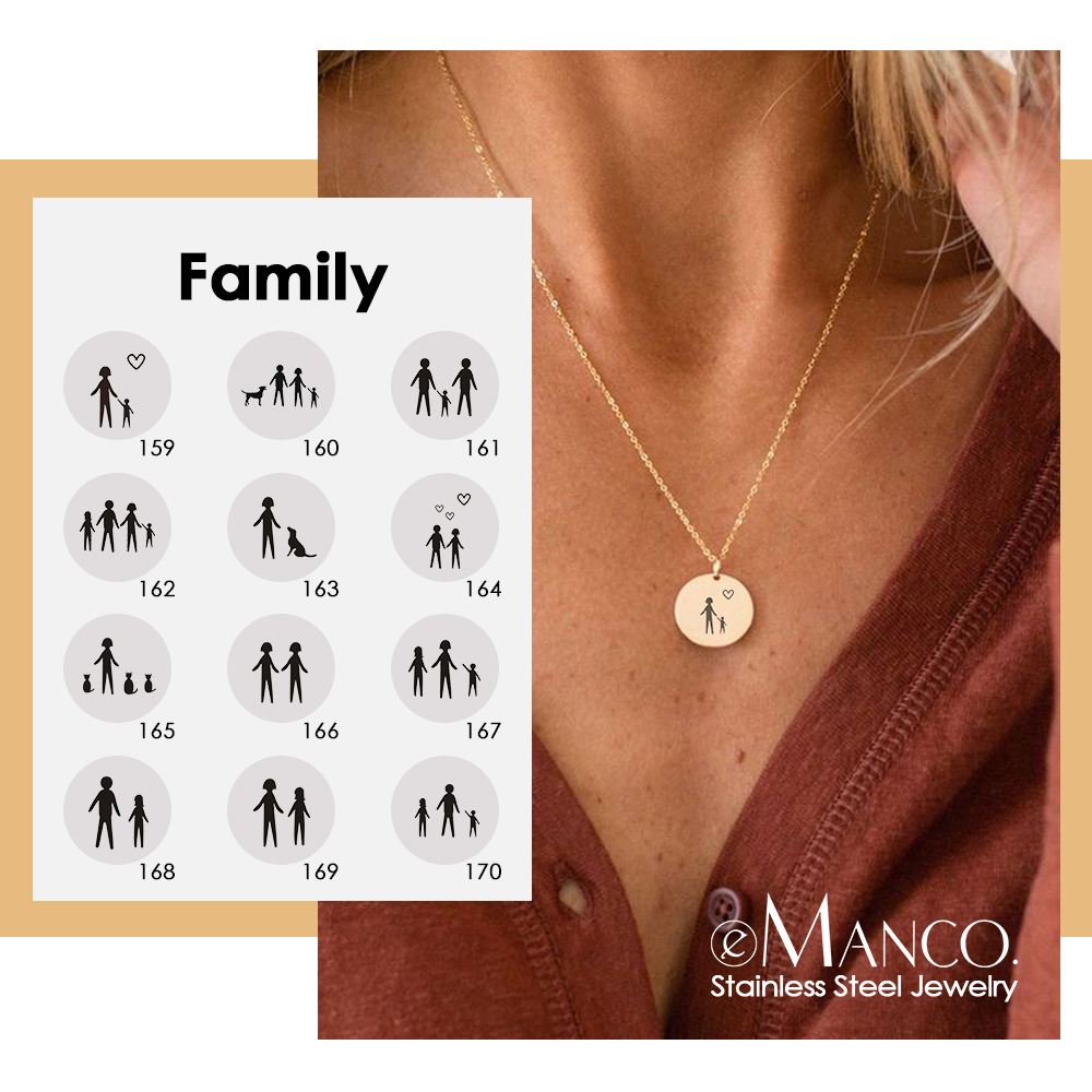 EManco Custom Engrave Family Pattern Pendant Necklace Women Family Memory 316L Stainless Steel Necklace Jewelry For Mom