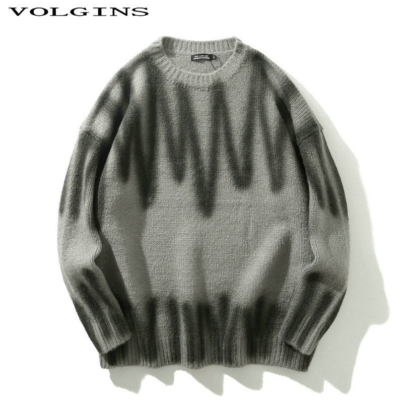 Streetwear Round Neck Loose Style Printed Sweater Men 2020 Winter High Street Oversized Hip Hop Men's Sweater Pullover