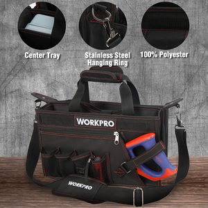 Image 2 - WORKPRO 600D Shoulder Tool Bag with Center Tray Waterproof Tool Kits Bags Pockets for Electrican Bags