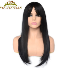 Vogue Queen Natural Black With Bangs Machine Made Full Wig Heat Resistant Fiber Straight Synthetic Wigs Daily Wearing For Women(China)