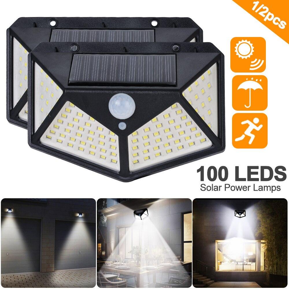 LED Solar Sensor Light Black 120 Degree Induction Angle Night Soft// Bright Mode