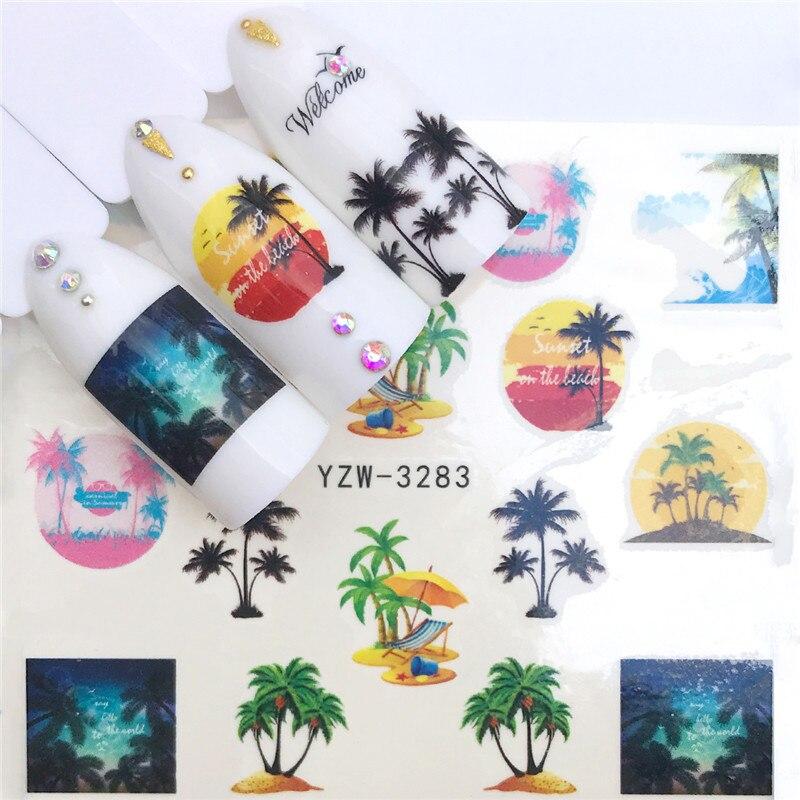 1pcs Watercolor Floral Flower Fruit Sticker Nail Decals Flamingo Mermaid Sea Star Shell Designs Gel Manicure Decor Water Slider