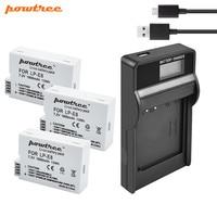 Powtree 1800mah LP-E8 LPE8 LP E8 AKKU Bateria + USB Carregador de LCD para Canon EOS 550D 600D 650D 700D x4 X5 X6i X7i T2i T3i