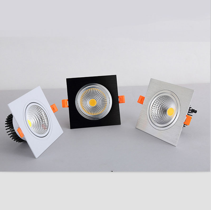 Dimmable LED COB Spotlight Ceiling Lamp AC 110V 220V  7W 9W 12W 15W 18W Aluminum Recessed Downlights Square Led Panel Light
