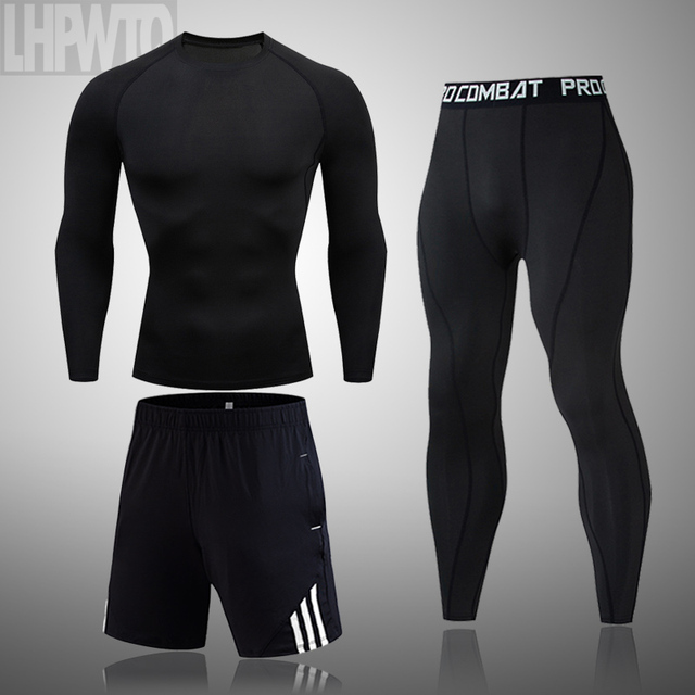 Men's Sportswear Compression Suits Training Clothing Set Training Jogging Sports thermal underwear Running Workout Gym Tights 1