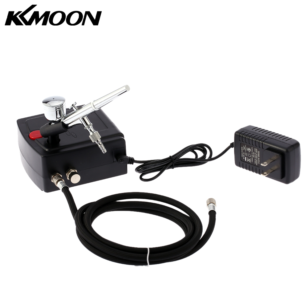 <font><b>KKmoon</b></font> 100-240V Gravity Feed Dual Action <font><b>Airbrush</b></font> Air <font><b>Compressor</b></font> Kit for Art Painting Manicure Craft Cake Spray Model image