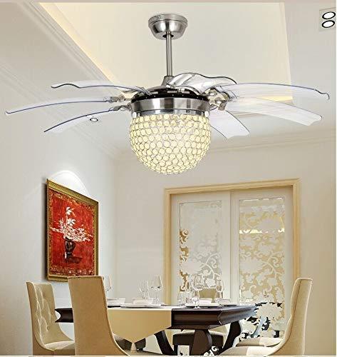 Kristal tavan vantilatörü uzaktan kumanda Modern sinek görünmez 8 yaprak fanı ışık dekoratif oturma odası restoran avize 42 inç