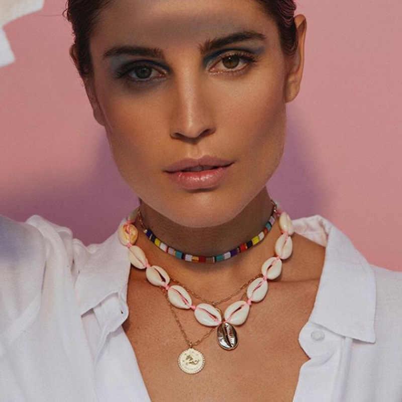 ヨーロッパとアメリカの新ファッションシンプルなネックレスナチュラルシンプルなシェルネックレス手作り蛍光ロープ鎖骨チェーン