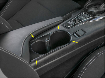 Lapetus Middle Front Water Cup Holder Panel Cover Trim Fit For Chevrolet Camaro 2016 - 2020 ABS Carbon Fiber Auto Accessories