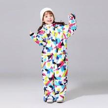 Новинка года, зимние лыжные костюмы для детей, водонепроницаемый комбинезон для прогулок на открытом воздухе, куртка для сноуборда для девочек Водонепроницаемый Лыжный комбинезон-30 градусов