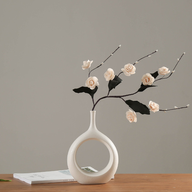 Ceramic Home Crafts Ornaments White Ceramic Vase Small Flower TV Cabinet Wine Cabinet Decorations Vases 4