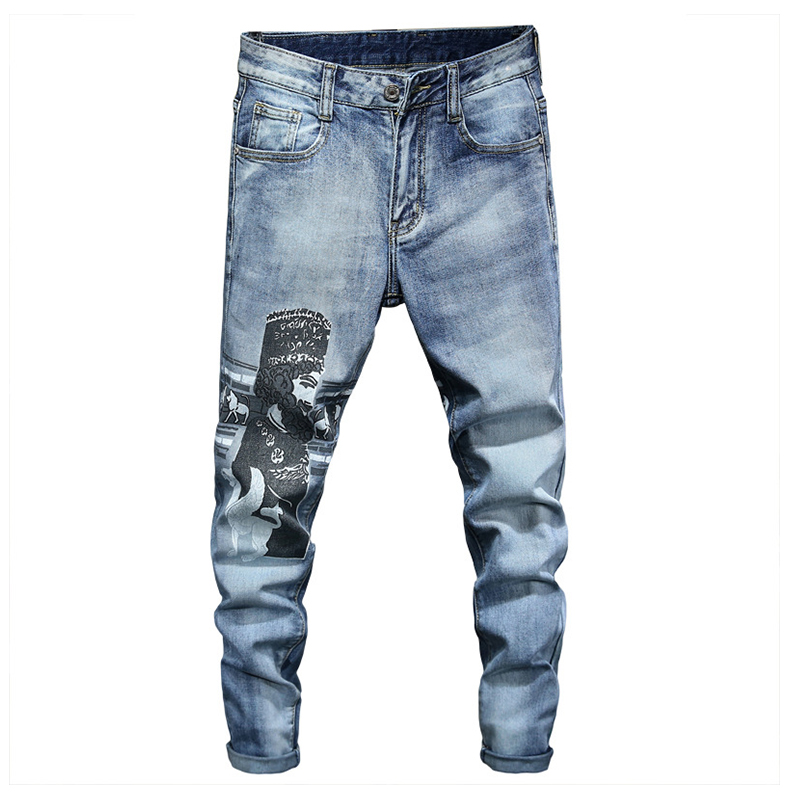 Sokotoo Men's Character Printed Jeans Trendy Light Blue Slim Fit Stretch Denim Tapered Pants