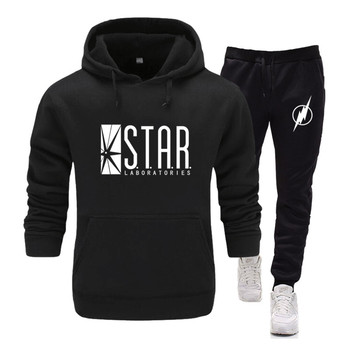New Men Sportswear Set Brand Mens STAR labs Tracksuit Sporting  jumper the flash gotham city comic books Two Pieces Track Suit