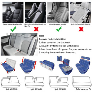 Image 5 - 7PCS Track Detail Style Car Seat Covers Set Polyester Fabric Universal Fits Most Cars Covers Car Seat Protector